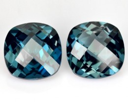 *PAIR* 9.18 Cts Natural London Blue Topaz Cushion Checkerboard Brazil