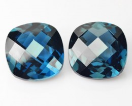 *PAIR* 9.01 Cts Natural London Blue Topaz Cushion Checkerboard Brazil