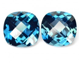 *PAIR* 9.92 Cts Natural London Blue Topaz Cushion Checkerboard Brazil