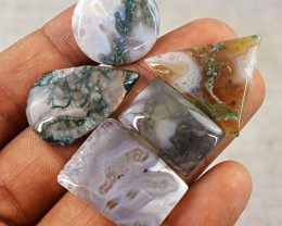 Genuine 62.00 Cts Moss Agate Untreated Cab Lot