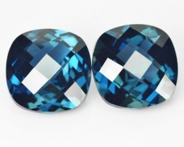*PAIR* 9.60 Cts Natural London Blue Topaz Cushion Checkerboard Brazil
