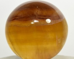 46mm Yellow / Red Fluorite Sphere Crystal Mineral - India (STYFB-NA30)