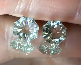 A Pair of Rare Cut Green Amethyst  (Prasiolite) - No reserve