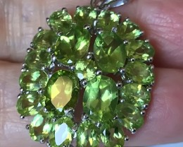 36.00CT SPARKLING LARGE PERIDOT STERLING SILVER .925 PENDANT