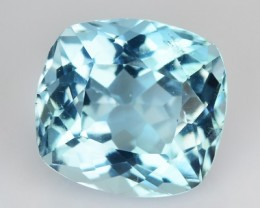 1.39 Cts Natural Santa Maria Blue Aquamarine Cushion Cut Brazil Gem
