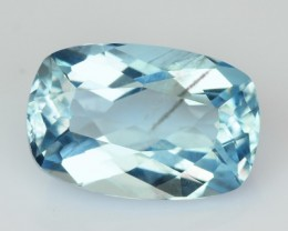 1.72 Cts Natural Santa Maria Blue Aquamarine Cushion Cut Brazil Gem