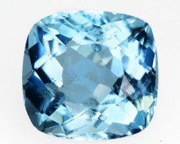1.08 Cts Natural Blue Aquamarine Cushion Cut Brazil Gem