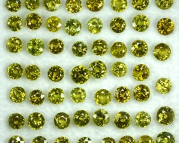 12.64 Cts Natural Demantoid Garnet (3.0-4.0 mm) Round 55 Pcs Parcel