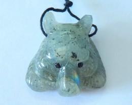 Hot Sale!!!52.5ct Natural Labradorite Handcarved Tiger Head Necklace Pendan
