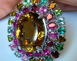 A Breath-taking Citrine Tourmaline Cocktail Ring 111.00cts Size 8.5
