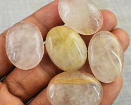 Genuine 149.00 Cts Oval Shape Golden Rutile Quartz Cab Lot