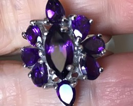Marvellous Uruguay Amethyst .925 Sterling Silver Ring No Reserve