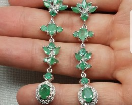 Fantastic Natural 57.1tcw. Colombian Emerald Earrings Untreated