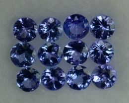 1.04 Cts Natural Violet Blue Tanzanite 2.50 mm Round 12 Pcs Parcel