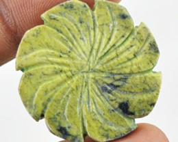 Genuine 22.50 Cts Round Shape Flower Carved Cheetah Jasper Cab  29 - KB4