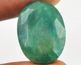 Genuine 17.95 Cts Oval Shape Faceted Green Emerald Cab