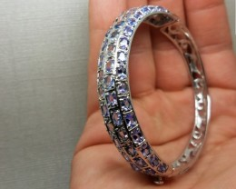 Wonderous Nat 119.7tcw. Top Rich Violet Blue Tanzanite Bangle Untreated
