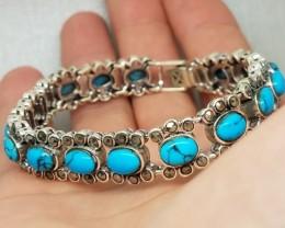 Fantastic Natural 136.1tcw. Turquoise Marcasite Bracelet Untreated