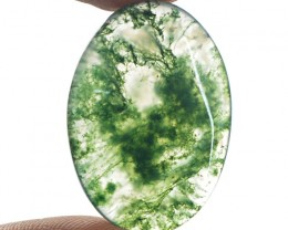 Genuine 22.00 Cts Green Moss Agate Oval Shape Cab