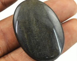 Genuine 34.80 Cts Untreated Oval Shape Obsidian Cab