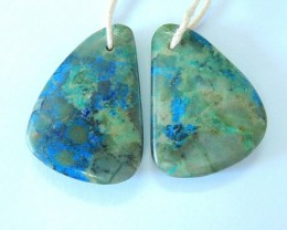 36ct Natural Colorful Chrysocolla Earrings For Women(17082901)