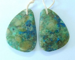 39.5ct Natural Chrysocolla Earring Pair(17082912)