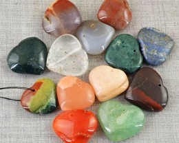 Genuine 294.50 Cts Drilled Mix Gem Heart Cab Lot