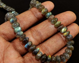 Genuine 198 Cts Round Shape Golden Flash Labradorite Beads Necklace