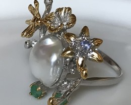 Gold Dragonfly Flower Emerald Pearl .925 Sterling Silver Ring No Reserve