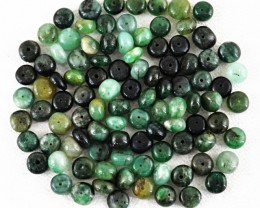 Genuine 31.50 Cts Untreated Green Emerald Round Shape Drilled Beads Lot