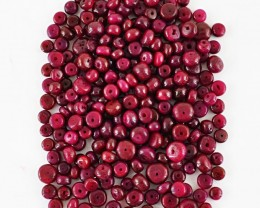 Genuine 394.00 Cts Untreated Drilled Red Ruby Beads Lot