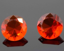 1.06 CT MEXICAN FIRE OPAL PAIR - MASTER CUT!  FLAWLESS!