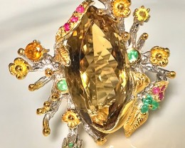 'The Grove' Hand worked Citrine Emerald Sapphire Sterling Gold Ring Size 10