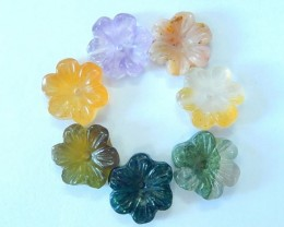 Sell 7pcs Carved Colorful Flowers Beads,Carved Natural Moss Agate,Amethyst,