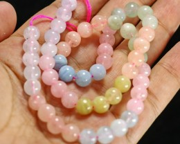 152 CT Natural -Unheated Multy Color Beryl Necklaces Carved Beads Stone