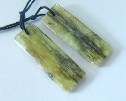Hot Sale! 31x11x3mm,Natural Green Kyanite Earring Pair(17083105)