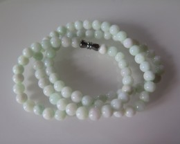 CERTIFIED A GRADE UNTREATED LIGHT GREEN JADE NECKLACE