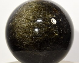 "2.1"" Gold Sheen Obsidian Sphere Sparkling Crystal - Mexico STROB-CF63"