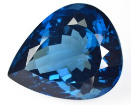 ~FIRE~ 54.94 Cts NATURAL TOPAZ - LONDON BLUE - PEAR - BRAZIL