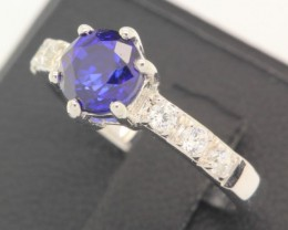 11.89ct 925 Sterling Silver Natural Blue Sapphire Ring size 5