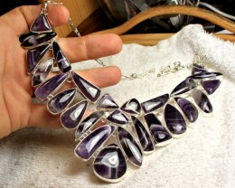 691.5 Tcw. Sterling Silver Amethyst Necklace - Gorgeous