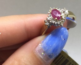 Stunning $2200 Nat 1.25ct. Ruby and  Diamond 14k Solid Yel Gold Ring Untr