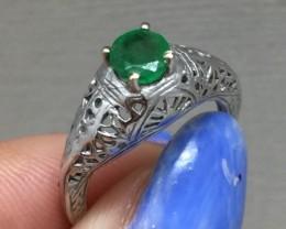 Stunning $975 Natural 0.35ct. Col Emrld 10k solid Gold Filigree Ring