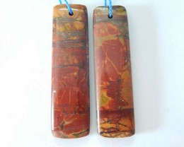 37x10x4mm Natural Muti Color Picasso Jasper  Rectangular Earring Pair For W
