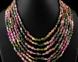 Exclusive : 7 Line Multicolor Tourmaline Necklace