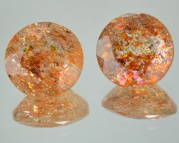 4.47 Cts Natural Brick Red Dot Sunstone 9 mm Round 2 Pcs Congo Gem