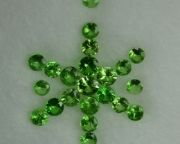 1.00 Cts Natural Green Tsavorite Garnet 2 mm Round 22 Pcs Parcel