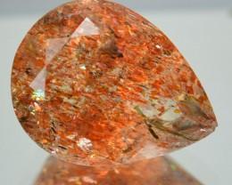 4.69 Cts Natural Brick Red Dot Sun Stone Pear Cut Congo Gem