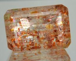 5.43 Cts Natural Brick Red Dot Sun Stone Octagon Cut Congo Gem