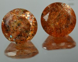 5.14 Cts Natural Brick Red Dot Sunstone 9 mm Round 2 Pcs Congo Gem